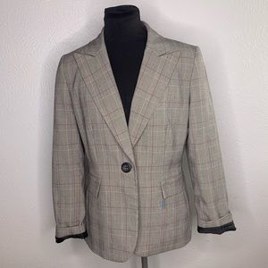Tahari pebble berry pink gray plaid blazer
